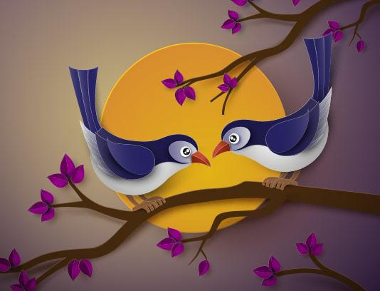 طرح پس زمینه عاشقانه پرنده