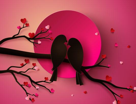 وکتور پس زمینه عاشقانه پرنده