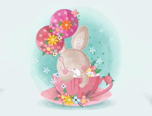 وکتور زمینه خرگوش فانتزی