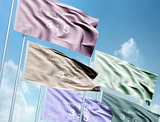 موکاپ پرچم های در حال اهتزاز