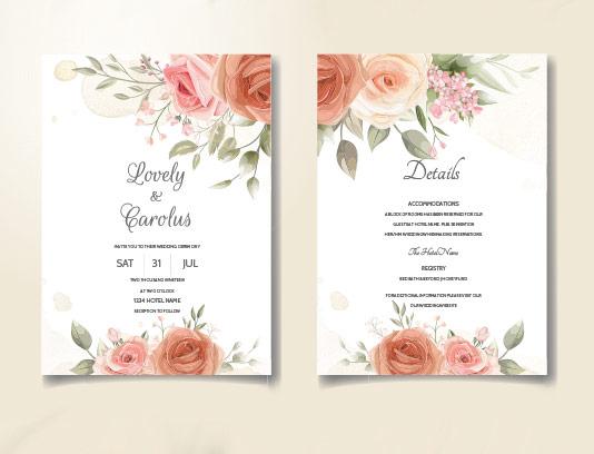 کارت دعوت عروسی گل