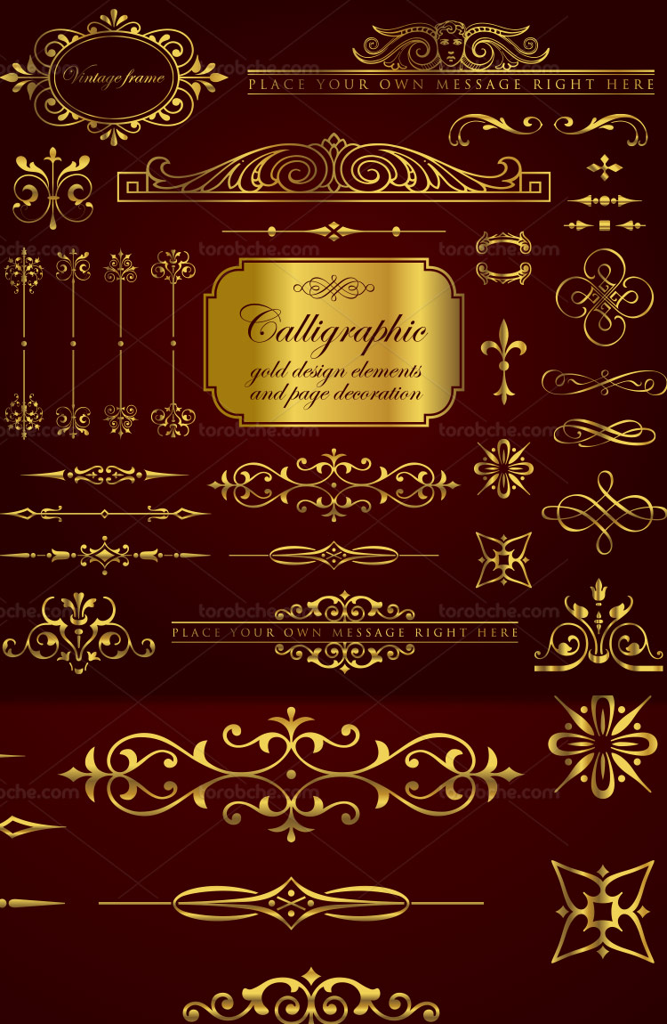 وکتور کادر و حاشیه طلایی رنگ