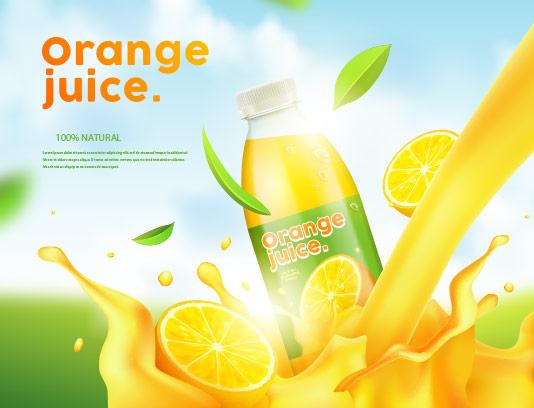 وکتور آبمیوه پرتقال تبلیغاتی