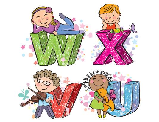 وکتور حروف لاتین کودکانه v تا x