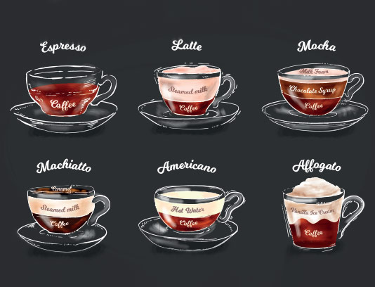 وکتور انواع قهوه با کیفیت