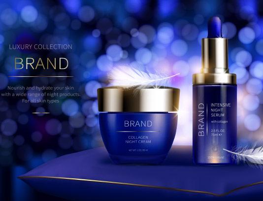 وکتور محصولات آرایشی بهداشتی آبی