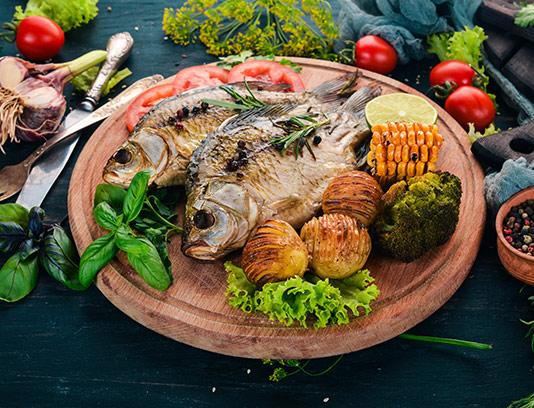 عکس ماهی و سبزیجات