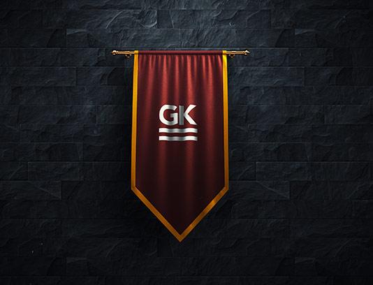 موکاپ پرچم سه گوش آویزان قرمز