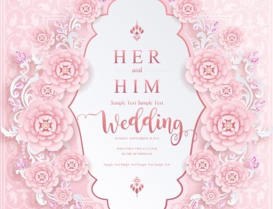 وکتور کارت عروسی صورتی