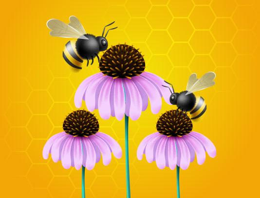 وکتور زنبور عسل و گل