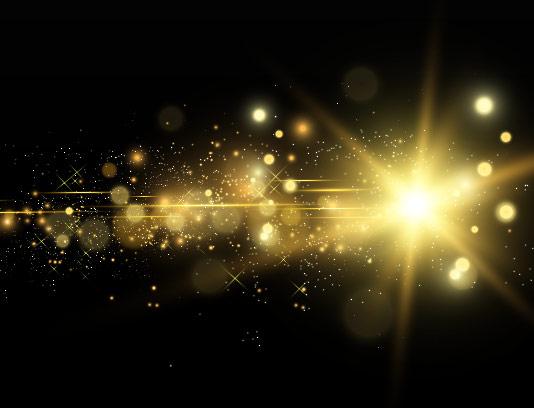 وکتور افکت نور ستاره ای طلایی
