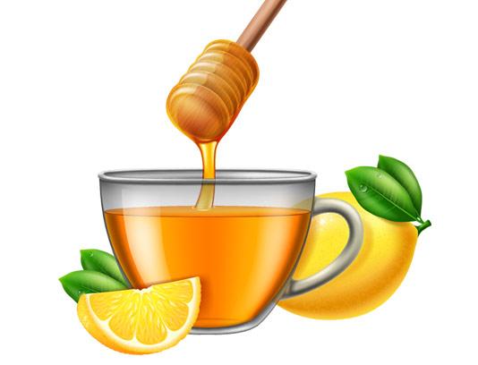 وکتور چای عسل و لیمو
