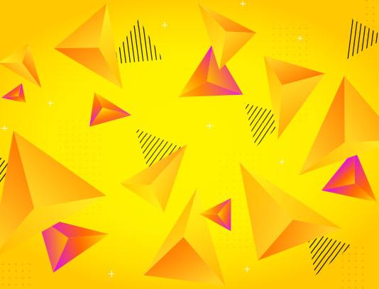 وکتور زمینه مثلث سه بعدی زرد