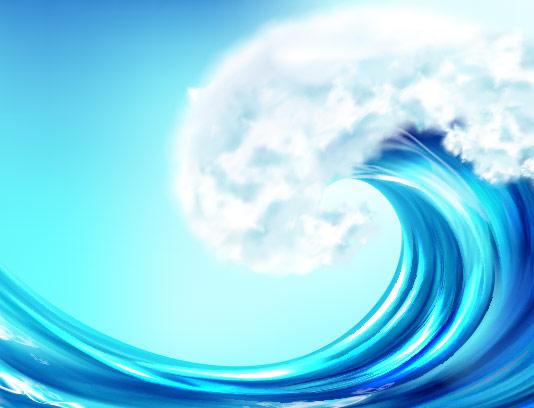 وکتور پس زمینه موج دار آبی