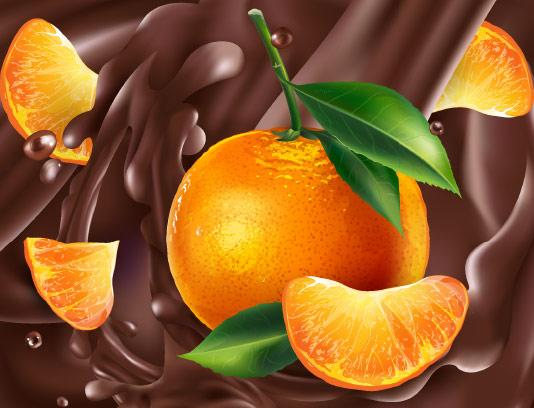 وکتور اسپلش کاکائو و پرتقال