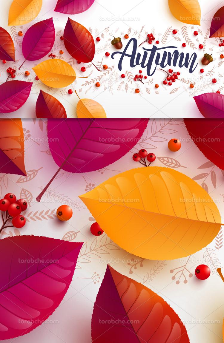 زمینه پاییزی با برگ های رنگی