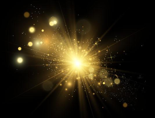 افکت نور ستاره ای طلایی درخشان