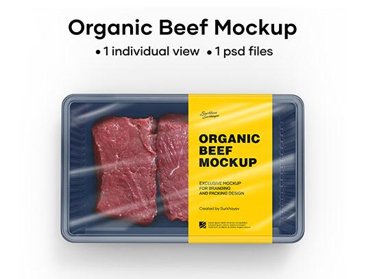 موکاپ بسته بندی استیک گوشت