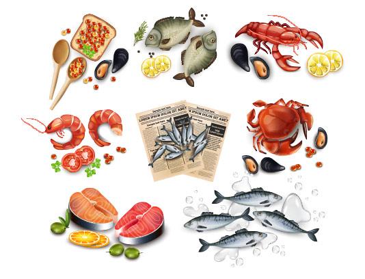 وکتور انواع غذای دریایی