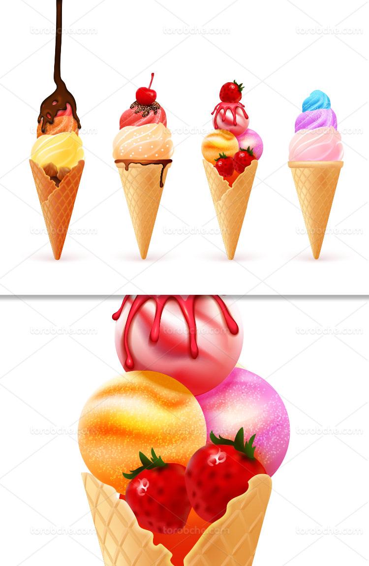 وکتور بستنی قیفی میوه ای خلاقانه