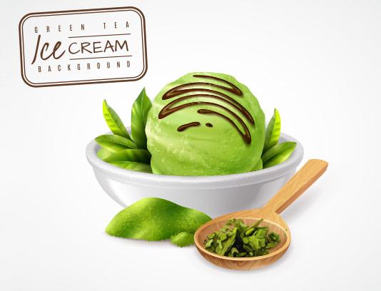 وکتور بکگراند بستنی چای سبز