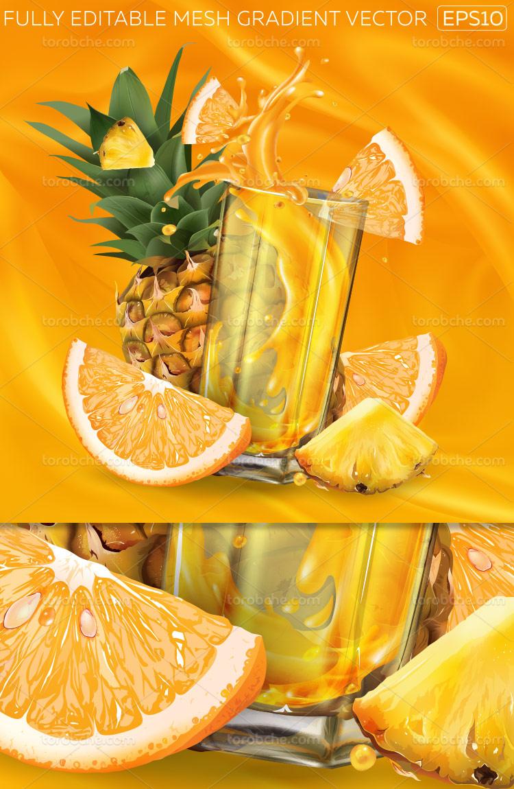 وکتور آبمیوه طبیعی آناناس
