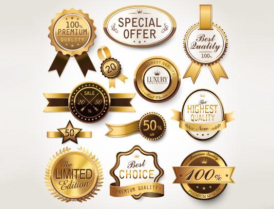 وکتور برچسب محصولات طلایی