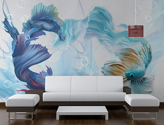 کاغذ دیواری سه بعدی ماهی
