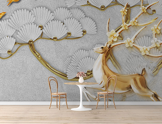 کاغذ دیواری گوزن طلایی