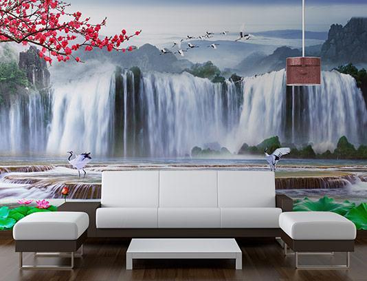 کاغذ دیواری سه بعدی آبشار