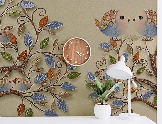 کاغذ دیواری سه بعدی درخت