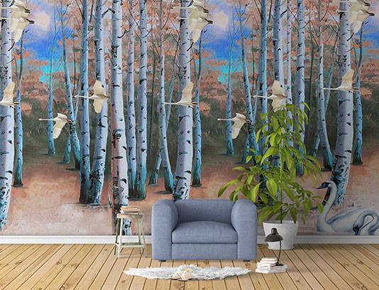 کاغذ دیواری درخت و پرندگان