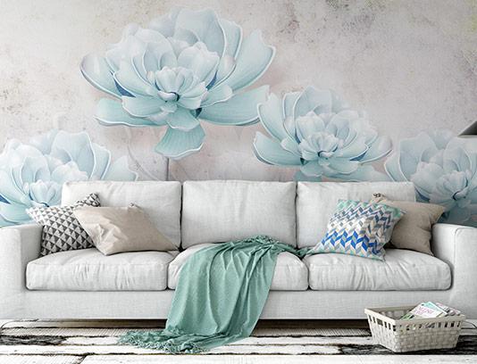کاغذ دیواری گل های آبی