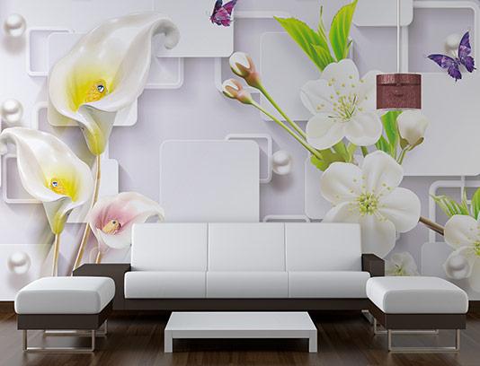 کاغذ دیواری سه بعدی گل