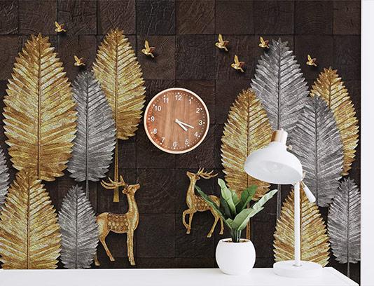 کاغذ دیواری سه بعدی طلایی