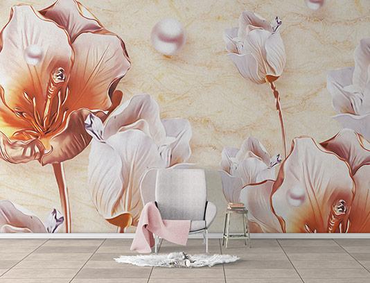 کاغذ دیواری سه بعدی گل زیبا