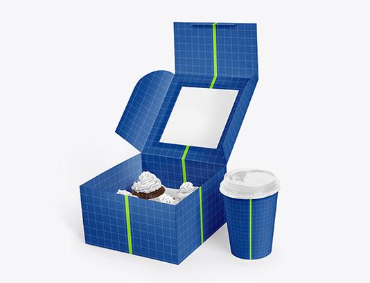 موکاپ جعبه کیک و لیوان قهوه