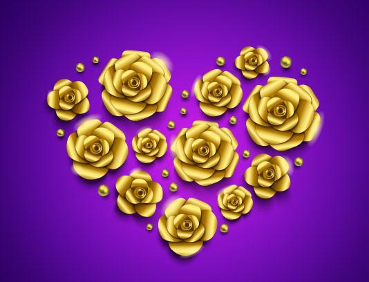 وکتور پس زمینه گل طلایی