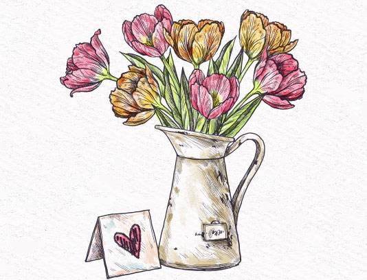 وکتور نقاشی گل و گلدان