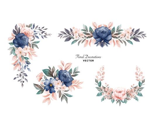 وکتور دسته گل تزئینی آبی