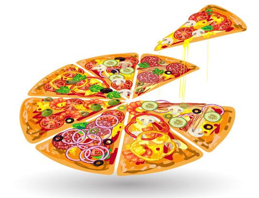 وکتور پیتزا تکه شده با کیفیت