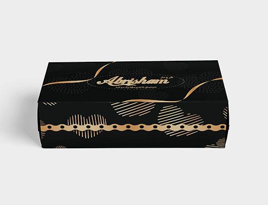 جعبه دستمال کاغذی مشکی طلایی