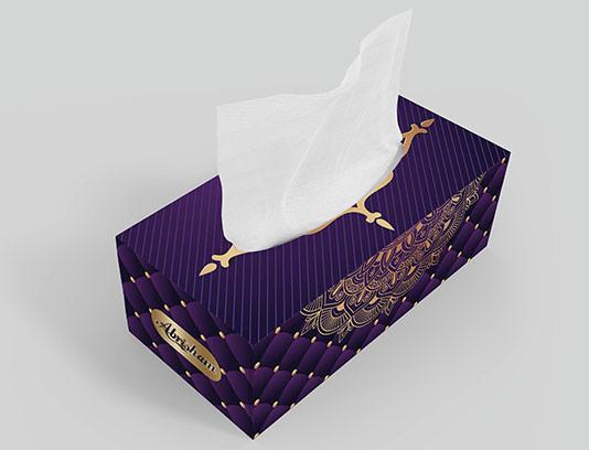طرح جعبه دستمال کاغذی بنفش