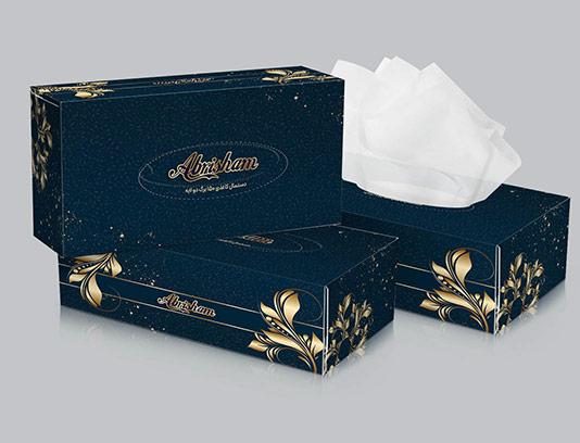 طرح جعبه دستمال کاغذی طلایی
