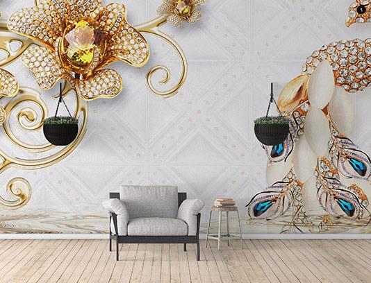 کاغذ دیواری سه بعدی طاووس