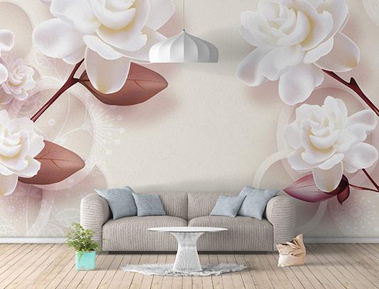 کاغذ دیواری سه بعدی گل رز