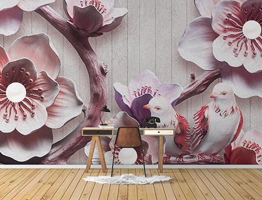 کاغذ دیواری گل و پرنده صورتی