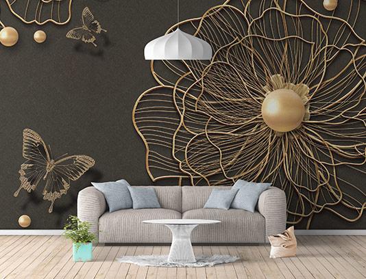 کاغذ دیواری مشکی طلایی