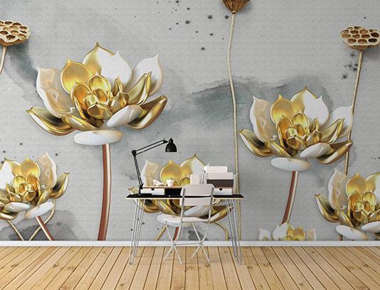 کاغذ دیواری خلاقانه گل