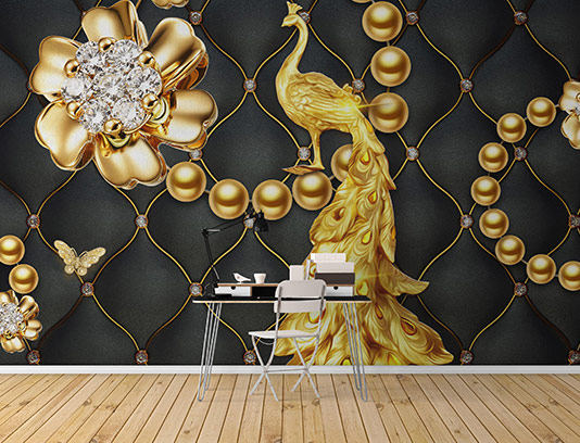 کاغذ دیواری طاووس طلایی